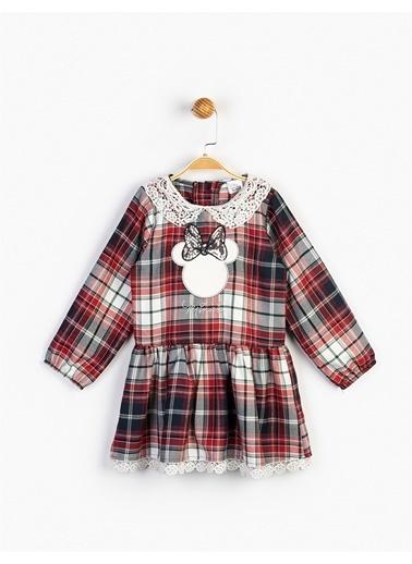 Minnie Mouse  Dantelli Ekose Elbise 16122 Kırmızı